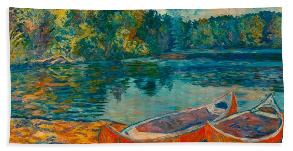 Landscape Bath Towel featuring the painting Canoes at Mountain Lake by Kendall Kessler