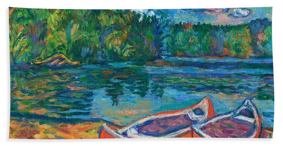 Landscape Bath Towel featuring the painting Canoes At Mountain Lake Sketch by Kendall Kessler