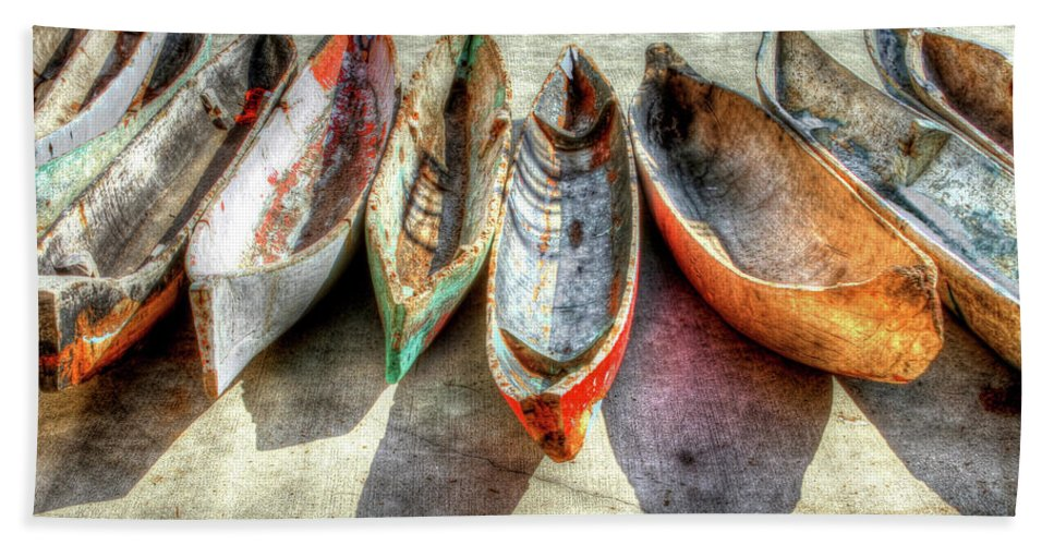 The Bath Sheet featuring the photograph Canoes by Debra and Dave Vanderlaan