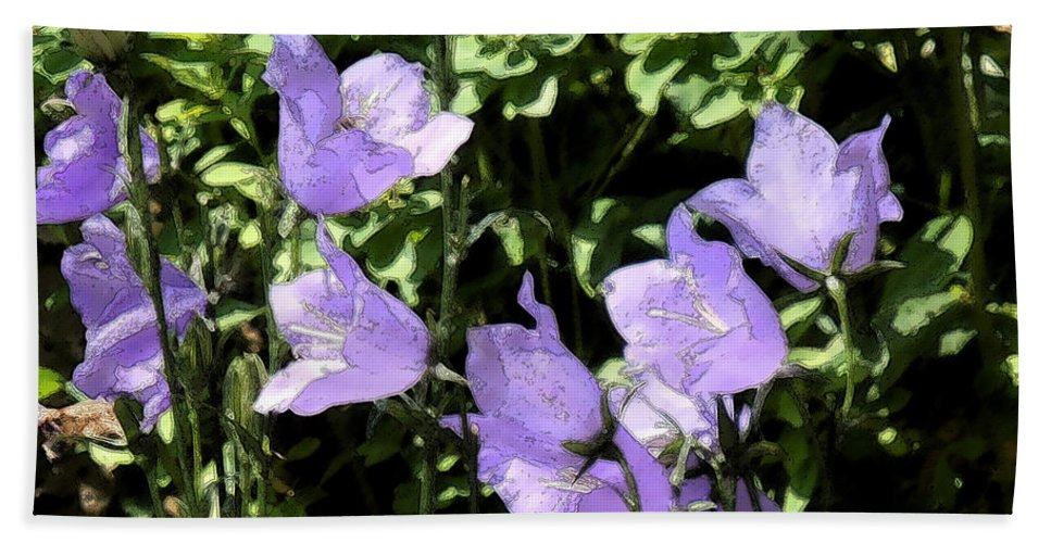 Flowers Bath Sheet featuring the photograph Canterbury Bells by Heather Coen