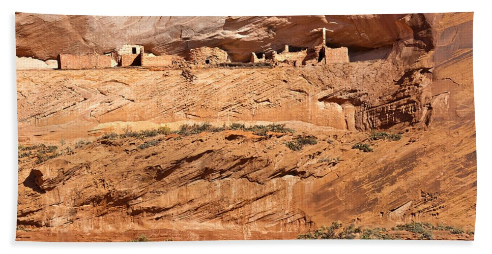 Arizona Hand Towel featuring the digital art Canyon Dechelly Pueblo Ruins by Bob and Nadine Johnston