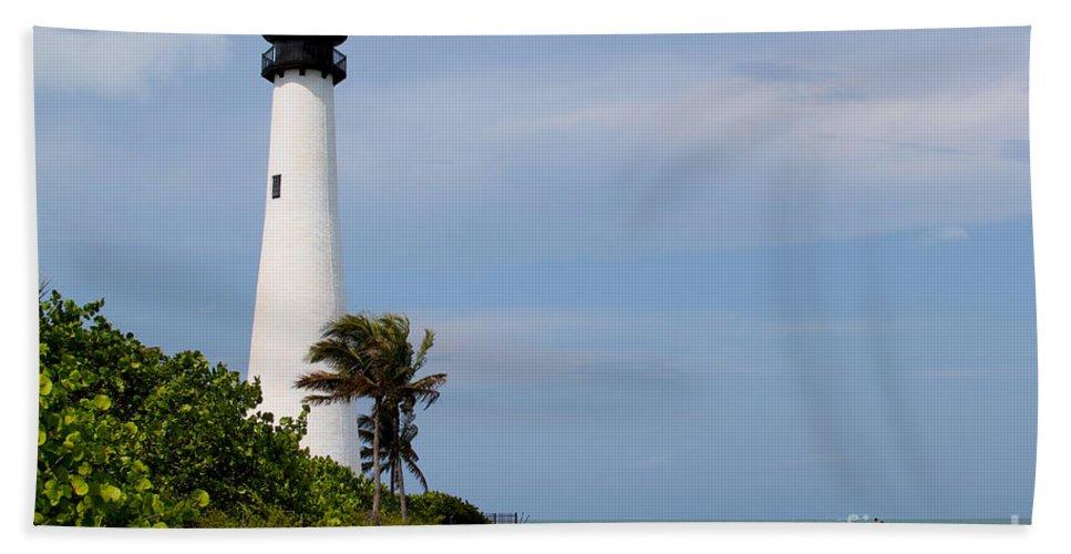 Lighthouse Bath Sheet featuring the photograph Cape Florida Beach by Carey Chen