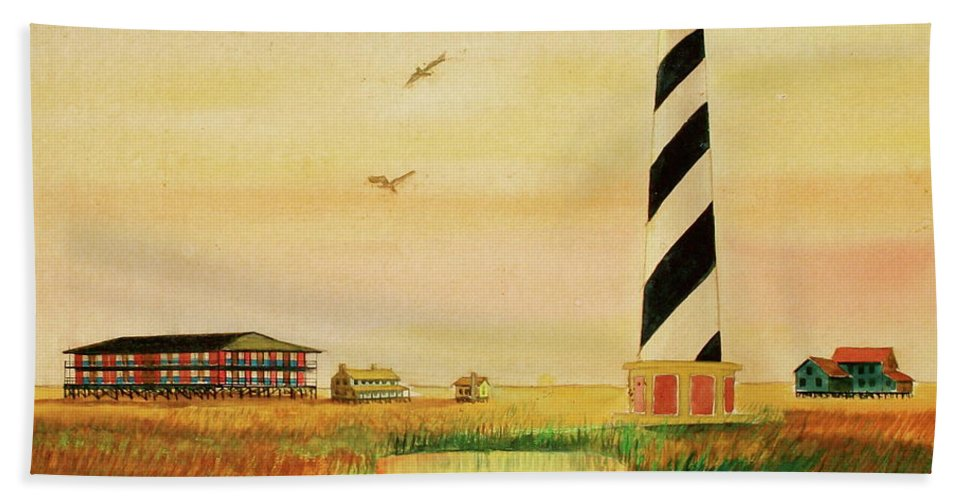 Lighthouse Sunset Marsh Cape Hatteras Hand Towel featuring the painting Cape Hatteras Light At Sunset by Frank Hunter