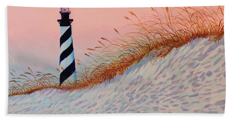 Lighthouse Hand Towel featuring the painting Cape Hatteras Sunrise by Alan Mintz