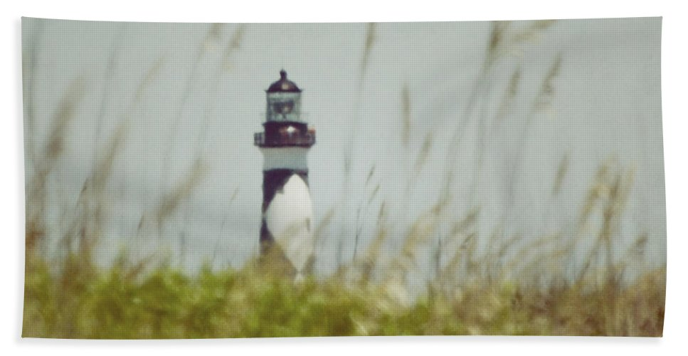 Cape Lookout Lighthouse Hand Towel featuring the photograph Cape Lookout Lighthouse - Vintage by Kerri Farley