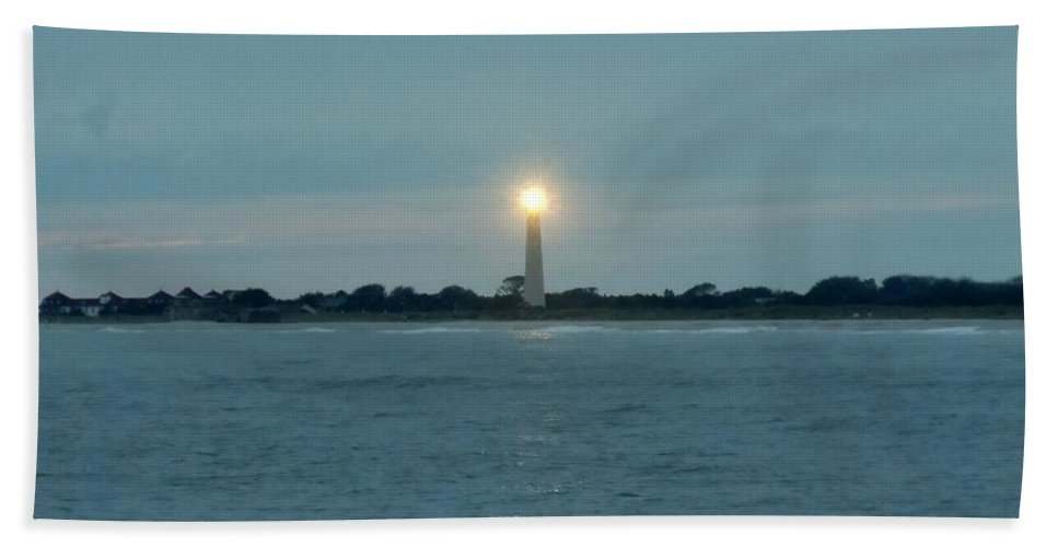 Lighthouse Bath Sheet featuring the photograph Cape May Beacon by Ed Sweeney