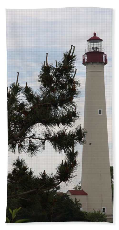 Lighthouse Hand Towel featuring the photograph Cape May Lighthouse by Christiane Schulze Art And Photography