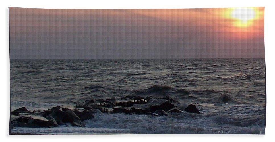 Cape May Bath Sheet featuring the photograph Cape May Sunset Beac H by Eric Schiabor