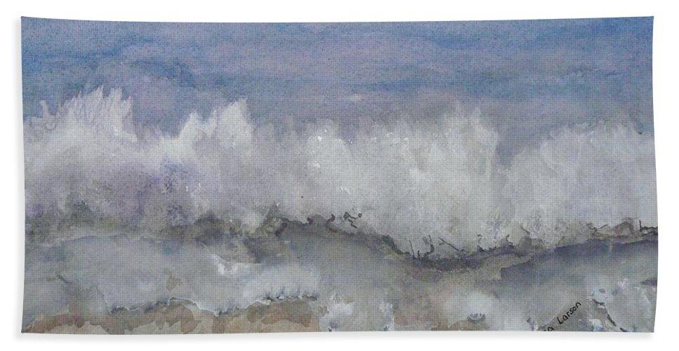 Atlantic Bath Sheet featuring the painting Cape Winds Wave by Eldora Schober Larson