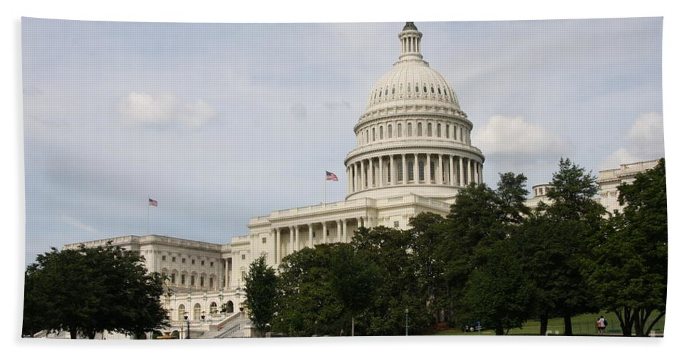 Capitol Bath Sheet featuring the photograph Capitol Hill Washington Dc by Christiane Schulze Art And Photography