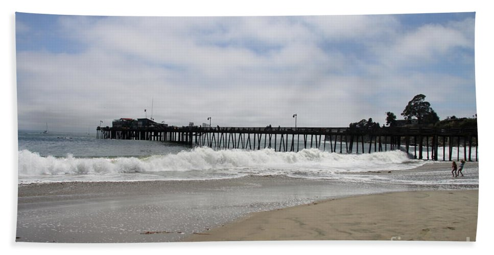 Capitola Wharf Hand Towel featuring the photograph Capitola Wharf by Christiane Schulze Art And Photography