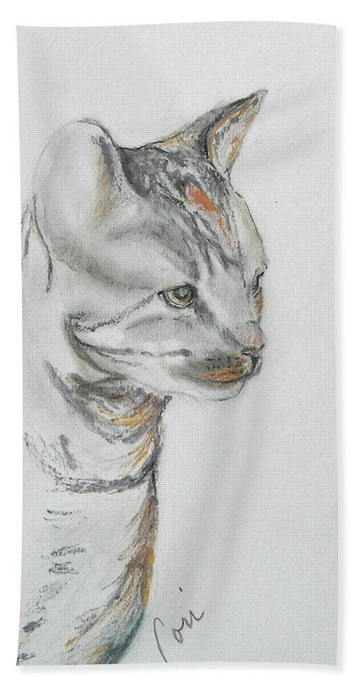 Colored Pencil Bath Sheet featuring the drawing Cappi by Cori Solomon