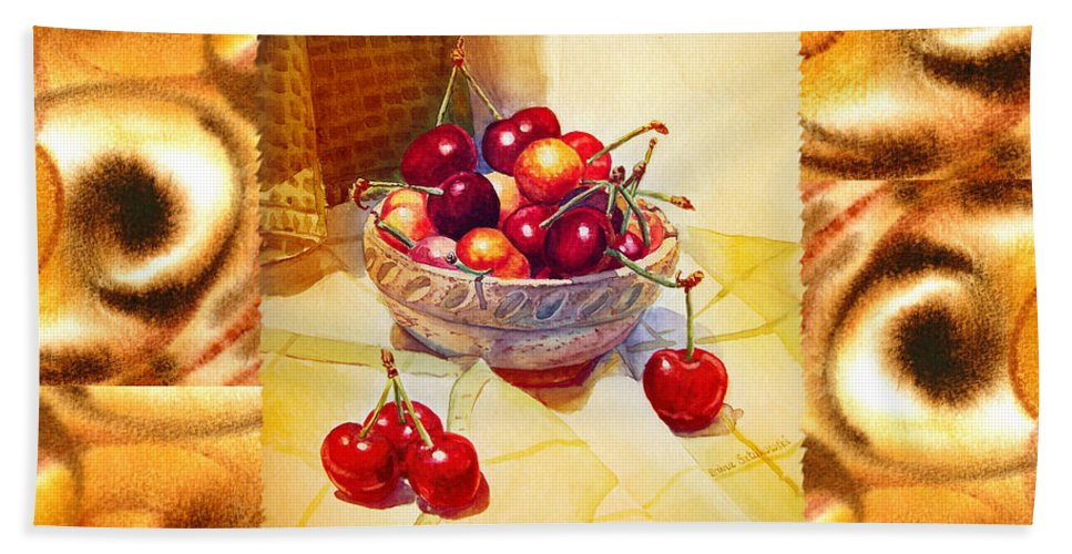 Cappuccino Hand Towel featuring the painting Cappuccino Abstract Collage Cherries by Irina Sztukowski