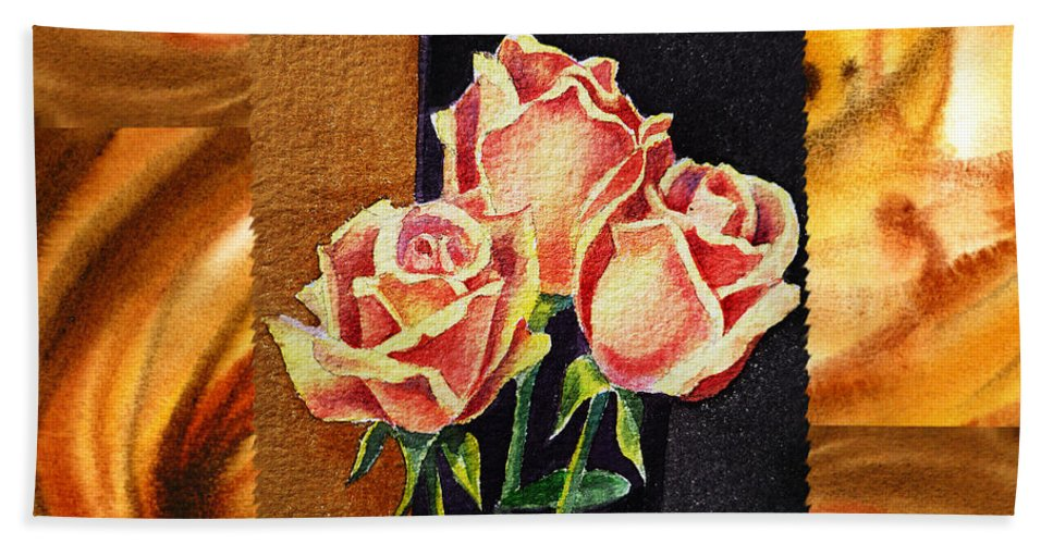 Cappuccino Bath Sheet featuring the painting Cappuccino Abstract Collage French Roses by Irina Sztukowski