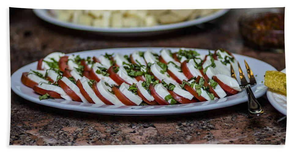 Caprese Salad Bath Sheet featuring the photograph Caprese Salad by Stephen Brown