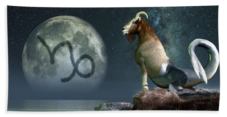 Capricorn Bath Sheet featuring the digital art Capricorn Zodiac Symbol by Daniel Eskridge
