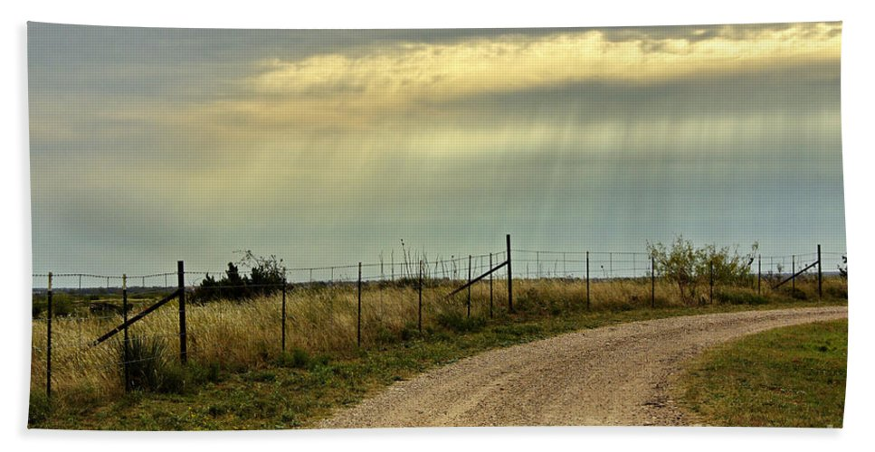 Caprock Canyon State Park Hand Towel featuring the photograph Caprock Canyon-country Road by Gary Richards