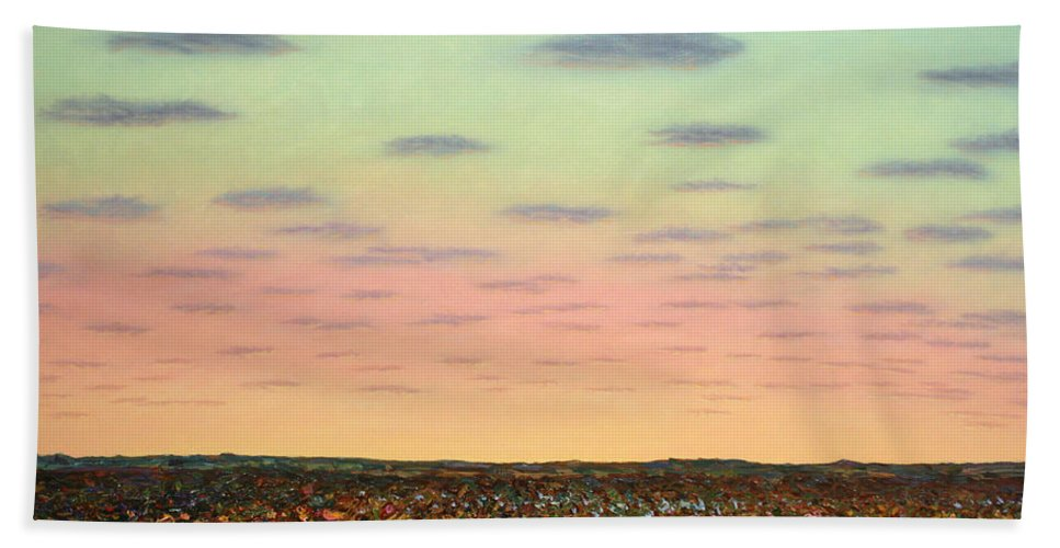 Sunrise Hand Towel featuring the painting Caprock Sunrise by James W Johnson