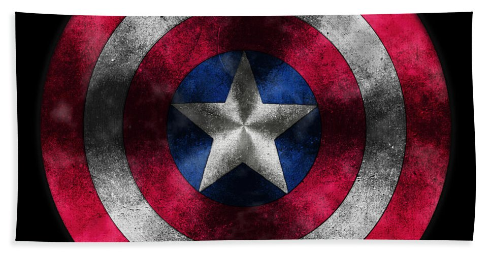 Captain America Movie Bath Sheet featuring the painting Captain America Shield by Georgeta Blanaru