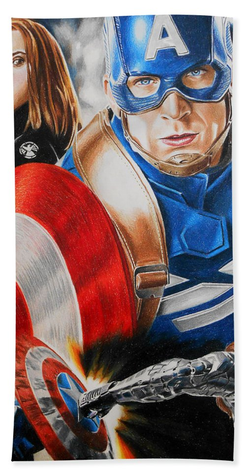 Captain America Bath Sheet featuring the painting Captain America Winter Soldier by Joseph Christensen