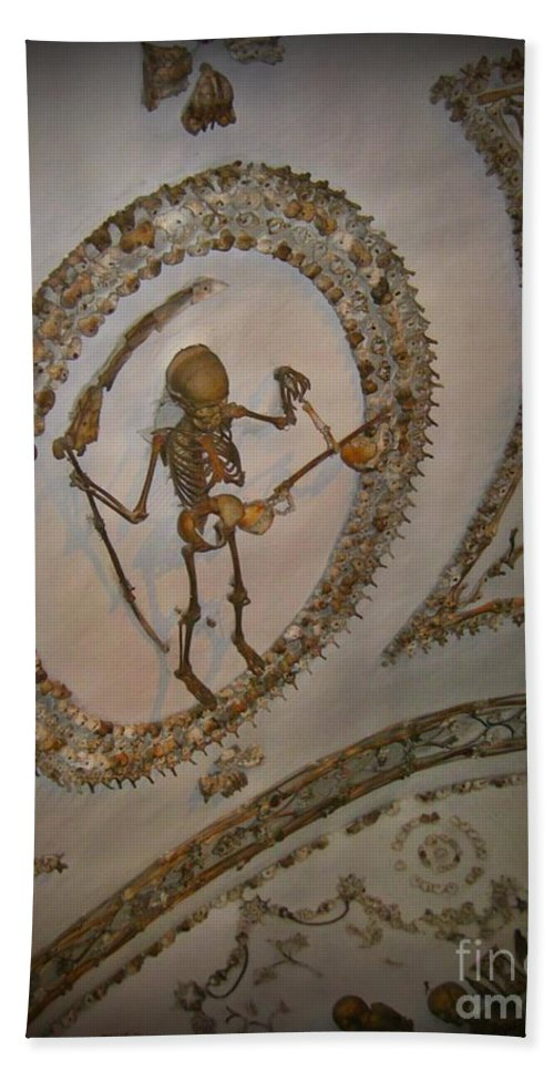 Skeleton Hand Towel featuring the photograph Capuchin Chapel Rome Italy by John Malone