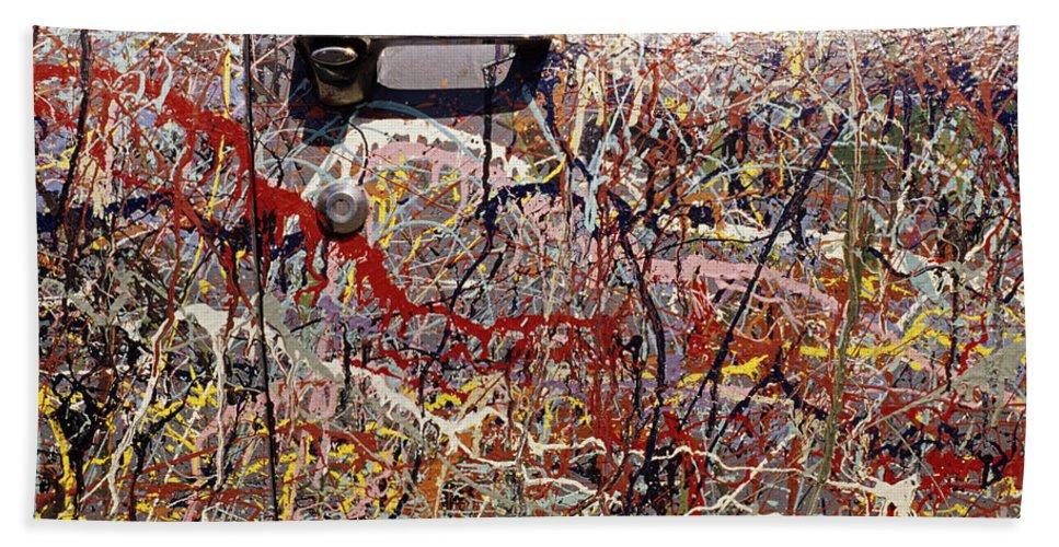 Entertainment Bath Sheet featuring the photograph Car Door Splattered Paint.tif by Jim Corwin