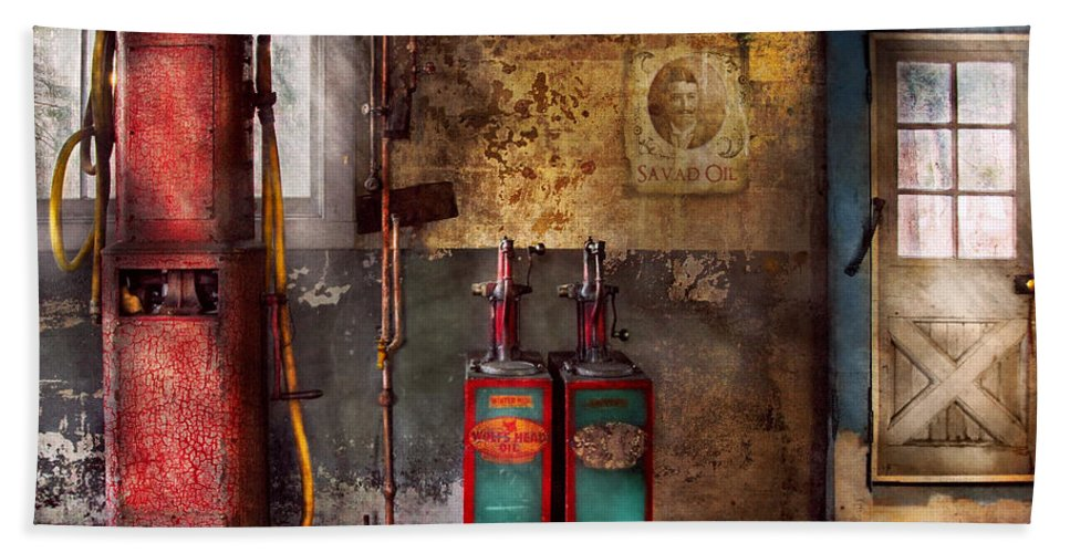 Savad Bath Sheet featuring the photograph Car - Station - Gas Pumps by Mike Savad