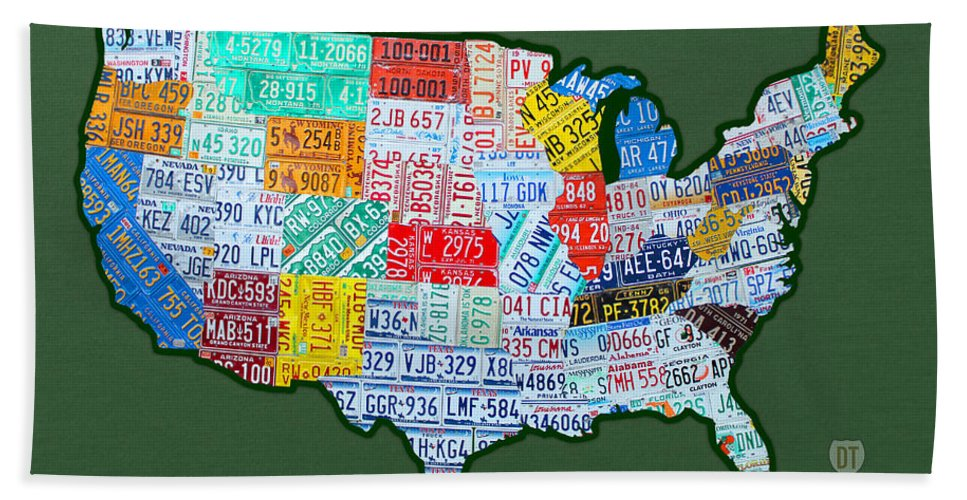 Car Tag Number Plate Art Usa On Green License Plate Map Bath Sheet featuring the mixed media Car Tag Number Plate Art Usa On Green by Design Turnpike