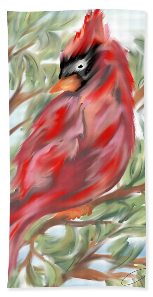 Digital Artwork Hand Towel featuring the digital art Cardinal At Rest by Laurie Pike