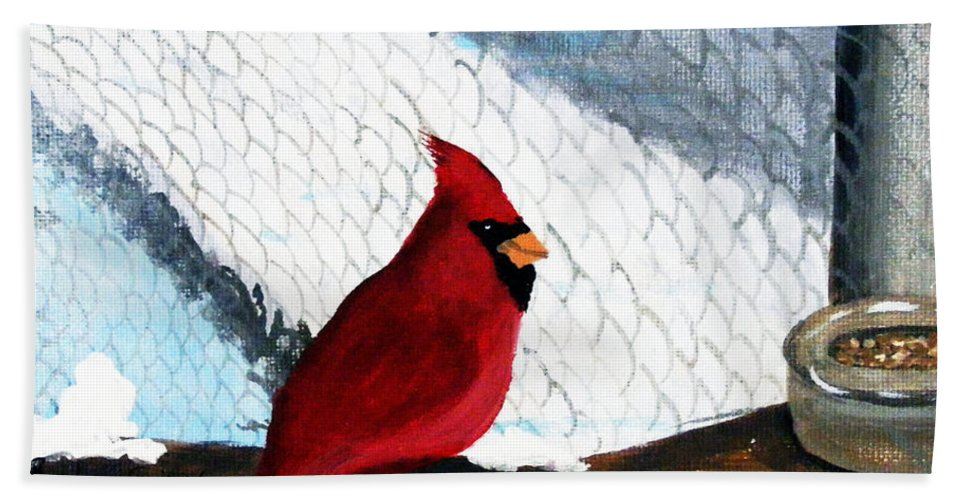 Cardinal Bath Sheet featuring the painting Cardinal In The Dogpound by Barbara Griffin