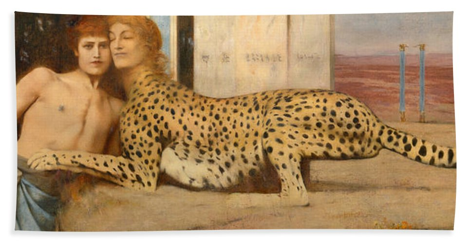 Fernand Khnopff Hand Towel featuring the painting Caresses by Fernand Khnopff