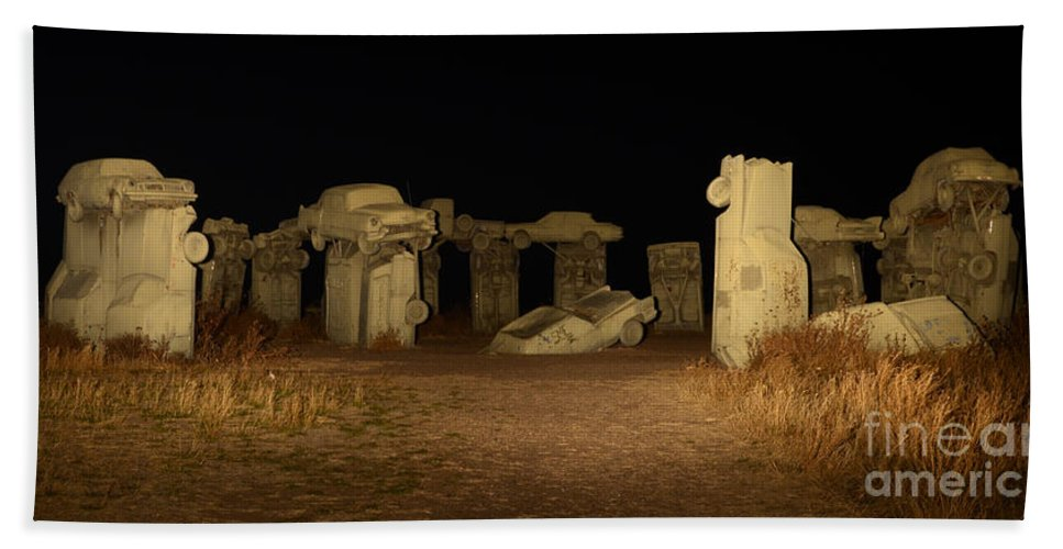 Carhenge Bath Sheet featuring the photograph Carhenge At Night by Bob Christopher