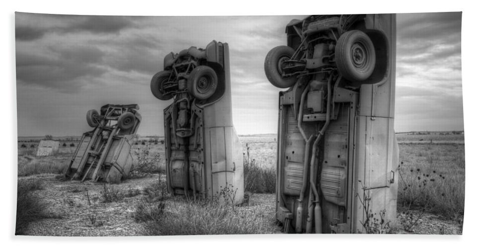 Carhenge Bath Sheet featuring the photograph Carhenge Automobile Art 3 by Bob Christopher