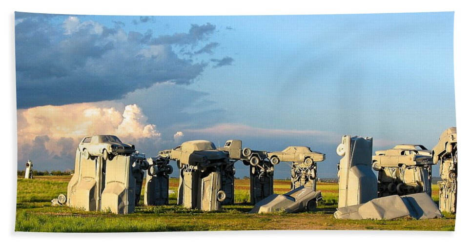 Blue Sky Hand Towel featuring the photograph Carhenge Somewhere In Nebraska by Phyllis Kaltenbach
