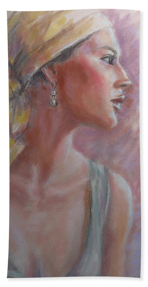 Figurative Hand Towel featuring the pastel Caribbean Beauty by Sarah Parks