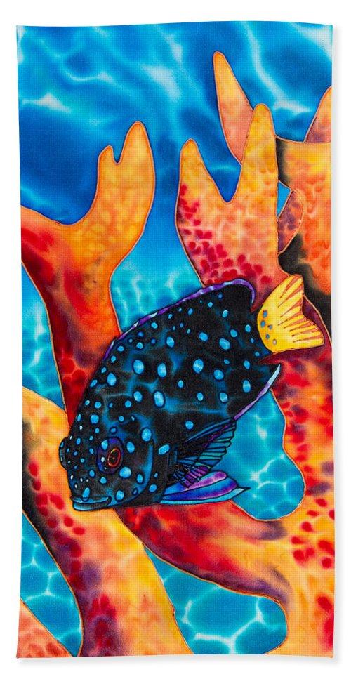 Damselfish Art Bath Towel featuring the painting Caribbean Damselfish by Daniel Jean-Baptiste