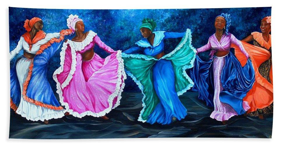 Caribbean Dance Hand Towel featuring the painting Caribbean Folk Dancers by Karin Dawn Kelshall- Best