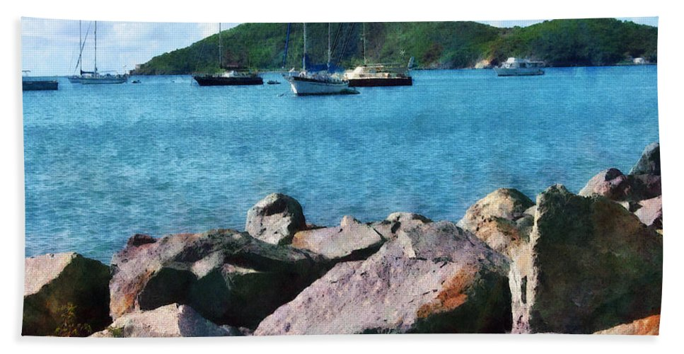 Boat Hand Towel featuring the photograph Caribbean - Rocky Shore St. Thomas by Susan Savad