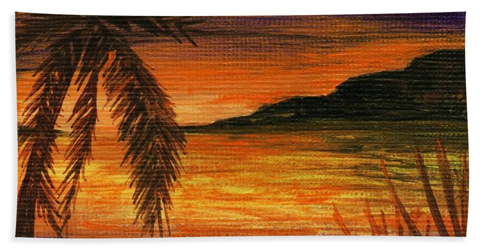 Calm Hand Towel featuring the painting Caribbean Sunset by Anastasiya Malakhova