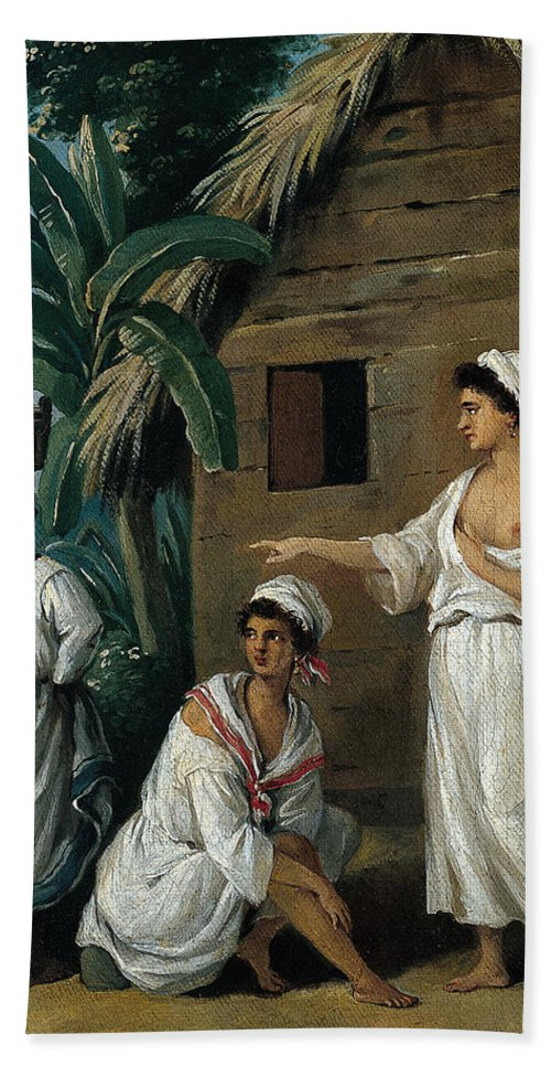 Agostino Brunias Bath Sheet featuring the painting Caribbean Women In Front Of A Hut by Agostino Brunias