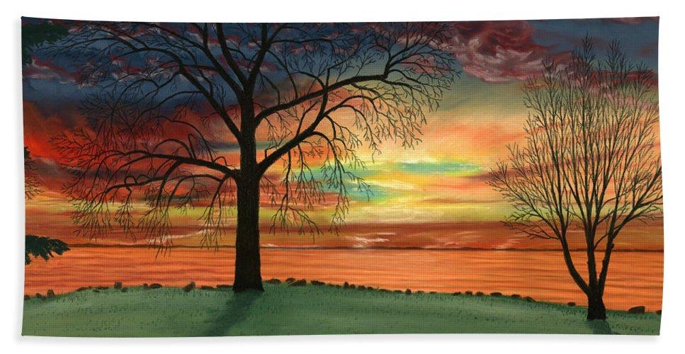 Carla's Sunrise Bath Sheet featuring the pastel Carla's Sunrise by George Burr