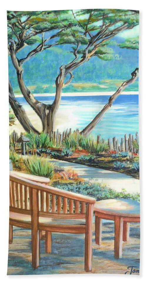 Carmel Hand Towel featuring the painting Carmel Lagoon View by Jane Girardot