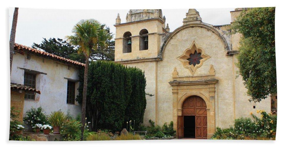 Carmel Mission Church Bath Sheet featuring the photograph Carmel Mission Church by Carol Groenen