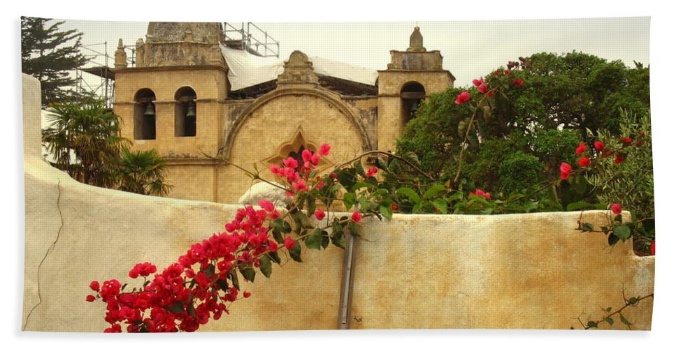 Mission Bath Sheet featuring the photograph Carmel Mission Getting A Facelift by Joyce Dickens