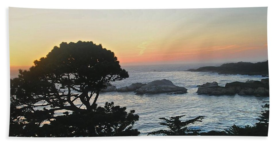 California Sunset Hand Towel featuring the photograph Carmel's Scenic Beauty by Kristina Deane