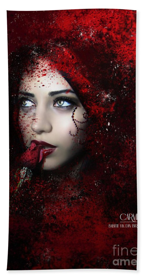 Photomanipulation Dark Emotional Bath Sheet featuring the digital art Carmilla by Babette Van den Berg