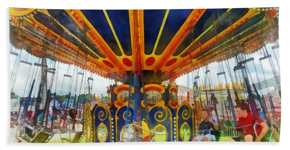 Super Swing Ride Hand Towel featuring the photograph Carnival - Super Swing Ride by Susan Savad