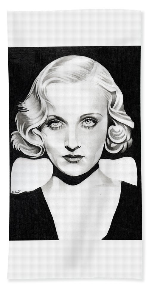 Carole Lombard Hand Towel featuring the drawing Carole Lombard by Fred Larucci