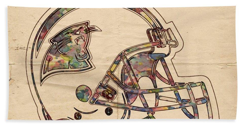 Carolina Panthers Bath Sheet featuring the painting Carolina Panthers Logo Art by Florian Rodarte