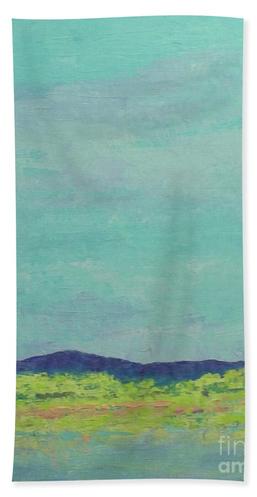 Pantone 2017 Greenery Bath Sheet featuring the painting Carolina Spring Day by Gail Kent